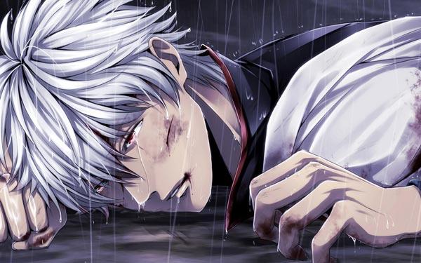 坂田银时伤感动漫图片 银时流眼泪的图片