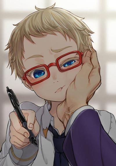 红框眼镜小正太博多藤四郎同人头像图片