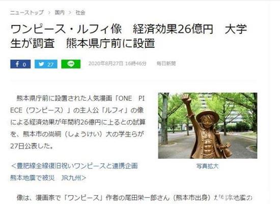 路飞铜像年均经济效益约26亿日元是真的吗?