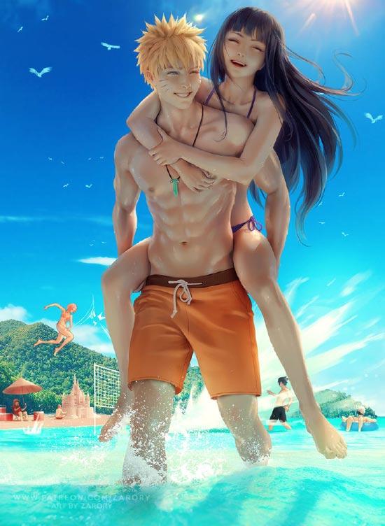 雏田和鸣人的悠闲假期 夏天果然就是要玩水!